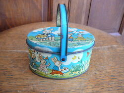 Peter Rabbit Parade Antique Oval Handled Lithographed Candy Tin By Tindeco