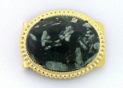 40x30 Oval Chinese Writing Stone Cabochon Cab Gem Gold Color Money Clip Pmc37