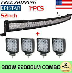 52''inch 300w Curved Combo Led Light Bar + 4pcs 4 18w Pods Offroad Suv Atv 4wd