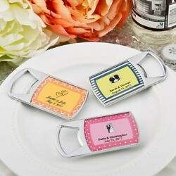 100 Personalized Epoxy Dome Chrome Metal Bottle Openers Wedding Party Favors