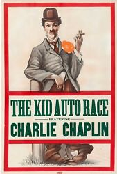 Charlie Chaplin - The Kid Auto Races R1910and039s Original One Sheet Poster