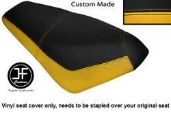 Black And Yellow Automotive Vinyl Custom Fits Suzuki Ap 50 Scooter Dual Seat Cover