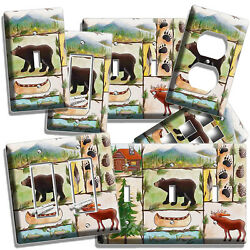 HUNTING CABIN FEVER MOOSE BEAR FISHING LIGHT SWITCH OUTLET WALL PLATE ROOM DECOR
