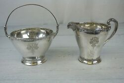Wm. Rogers And Sons Triumph Silver Plated Creamer And Basket With Handle Set
