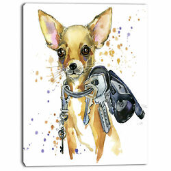 Design Art 'Brown Toy Terrier Dog Watercolor' Painting Print on Wrapped Canvas