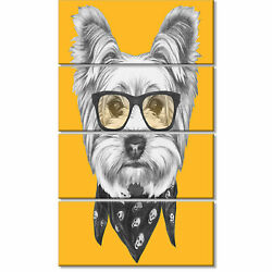 'Funny Terrier Dog with Glasses' 4 Piece Graphic Art on Wrapped Canvas Set