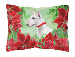 The Holiday Aisle Derby Bull Terrier Poinsettas IndoorOutdoor Throw Pillow