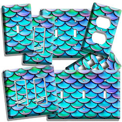 MERMAID TAIL FISH SCALES PATTERN LIGHT SWITCH OUTLET WALL PLATES ROOM HOME DECOR