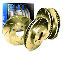 GOLD EDITION ELINE [FRONT+REAR] DIAMOND SLOTTED PERFORMANCE BRAKE ROTORS D1219