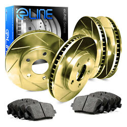 For 2000 Subaru Legacy Front Rear eLine Gold Slotted Brake Rotors+Ceramic Pads