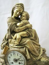 Antique French Ad Mougin Bronze Mother And Child Statue Clock.