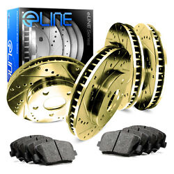 GOLD ELINE[FULL KIT] DRILLED SLOTTED BRAKE ROTORS & CERAMIC BRAKE PADS D3427