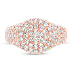 Womens 1.81ct Round Diamond Pave 14k Rose Gold Circle Cocktail Right Hand Ring