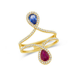 1.29 Tcw 14k Yellow Gold Natural Pear Blue Sapphire Ruby Diamond Dainty Ring