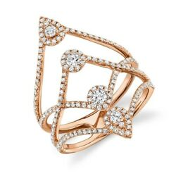 0.70 Ct 14k Rose Gold Multi Row Band Diamond Long Cocktail Right Hand Ring