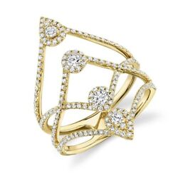 14k Yellow Gold Multi Row Band Diamond Long Cocktail Right Hand Ring 0.70ct