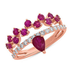 14k Rose Gold Cocktail Ring With Pear Round Rubies Ruby And Diamonds 1.46 Tcw