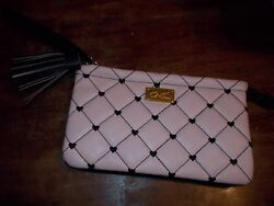 Betsey Johnson QUILTED Wallet Wristlet Pink Hearts w tassel amp; strap EUC $7.95