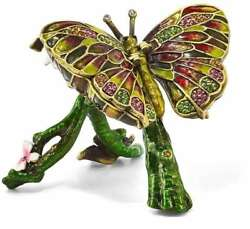 Bejeweled Crystal Enameled Butterfly And Pink Orchid Trinket Box
