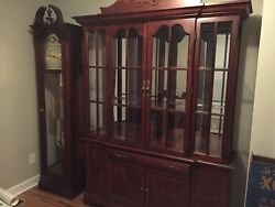 Cherry Furniture- Grandfather Clock China Hutch Table Queen Bed Set