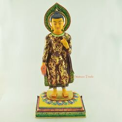 Fine Quality 19 Standing Buddha Copper Alloy Gold Gilded Hand Painted Statue