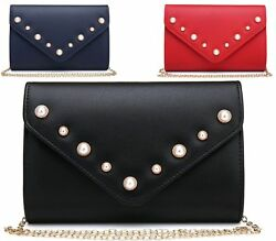 NEW WOMENS PEARL FLAT FAUX LEATHER PROM BRIDAL EVENING ENVELOPE PURSE CLUTCH BAG