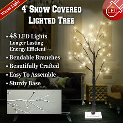 4/ 6ft Snow Covered Lighted Tree Led Flake Table Indoor Outdoor Decor Warm White