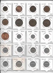 Ireland Lot Of 48 Coins 1 Farthing - 1 Punt 1937-2000 Ee1