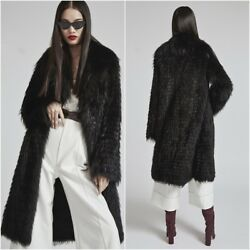 100CM Long Luxury Natural Real Silver Fox Fur Women Coat Turn-down Collar Jacket