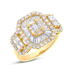 Womens 2.20 Ct 18k Yellow Gold Baguette And Round Cut Diamond Cocktail Ring