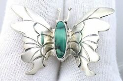 1 1/2 X 1 1/10 Inch Butterfly S O Hallmarked Turquoise Sterling Navajo Brooch