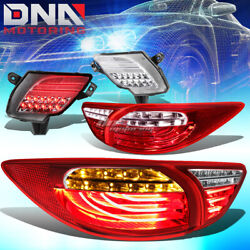 Red Clear 3d Led Tail Lights+ Chrome Rear Reflector Lamp Fit 13-16 Mazda Cx5
