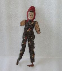 Antique Wood Papier-mache Mechanical Jester Clown Toy Doll Play Cimbalgermany