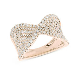 Womens 0.99ct 14k Rose Gold Diamond Crossover Cocktail Right Hand Ring