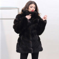 2018 Real Natural Fox Fur Coat With Turn-down Collar Oblique Diagonal Overcoat