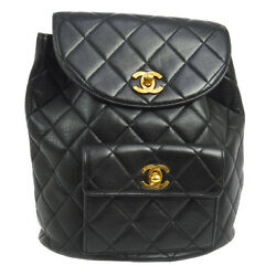 Authentic CHANEL Quilted CC Chain Backpack Bag Black Leather Vintage AK16606f
