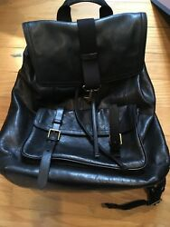 Men's Coach Black Leather Backpack New With Tags- 70786