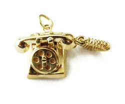 14k Yellow Gold Rotary Dial Telephone Charm Necklace Pendant 6.7g