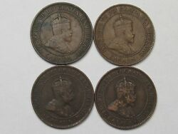 4 Canadian Large Cent Coins Vf - Most Crown 1902 2, 1903 And 1906. Edward Vii