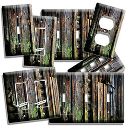 RUSTIC OLD WORN OUT MOSSY OAK WOOD PLANKS LIGHT SWITCH WALL OUTLET PLATES DECOR