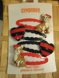 NWT GYMBOREE PREP PERFECT French Bulldog & Heart Clips Four-PackVintage