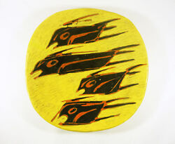 Gorka Livia Yellow Retro Plate With Black Fish 11 1950and039s Art Pottery G029