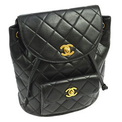 Authentic CHANEL Quilted CC Chain Backpack Bag Black Leather Vintage A35717e