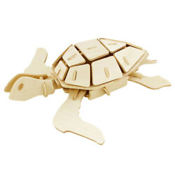 Sea Turtle Diy 3d Wooden Puzzle Natural 2-1/2-inch