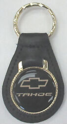 Vintage Black Chevrolet Tahoe Black Leather Gold Tone Keyring Chevy Bow Tie