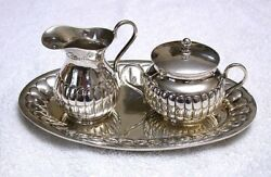 Vintage High Quality Hallmarked Mexican Sterling Silver Tray Creamer Sugar Set