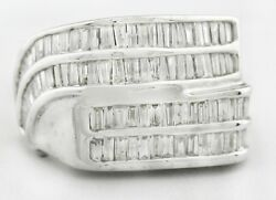 Genuine 3.34 Cts Diamonds 14k White Gold Menand039s Ring Nwt 13.22 Grams
