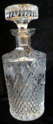 Antique Vintage 9.5 Stunning Heavy Cut Glass Crystal Liquor Decanter And Stopper