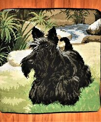 Scottish Terrier Scottie Dog Ferns Finished Completed Pillow Wool Needlepoint