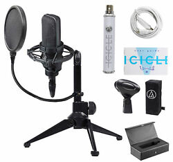 Audio Technica AT4033A Podcast Podcasting Microphone+Stand+Shockmount+Pop Filter